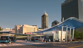 Photo of the IndyGo Downtown Transit Center, currently under construction.
